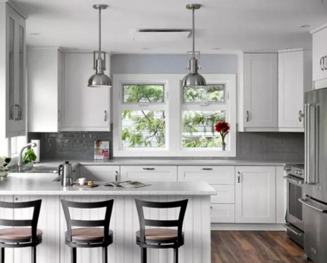 White Rustic Kitchen Cabinets - U Shaped Kitchen