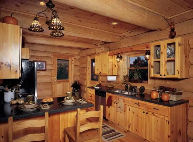 Rustic Knotty Pine Kitchen Cabinets